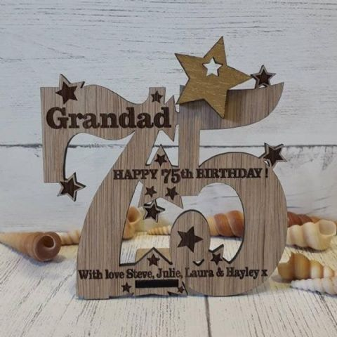 Personalised Seventy Fifth 75th Birthday Celebration Card Oak Wooden Keepsake Gift